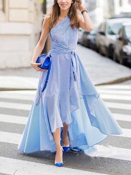 Blue Stripe One Shoulder Tie Waist Asymmetric Hem Maxi Dress
