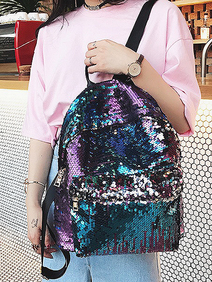 Blue Sequin Detail PU Backpack
