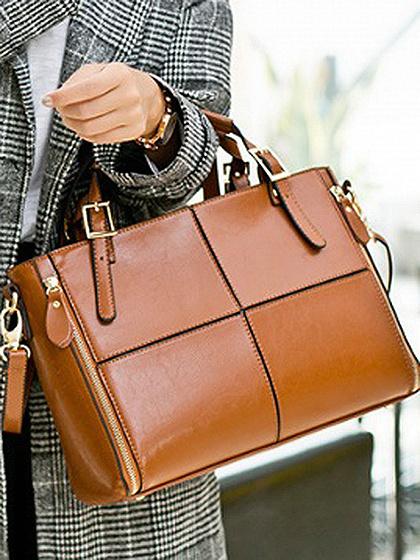 Brown PU Zip Detail Clutch Bag