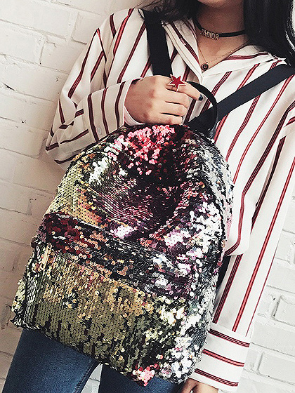 Gold Sequin Detail PU Backpack