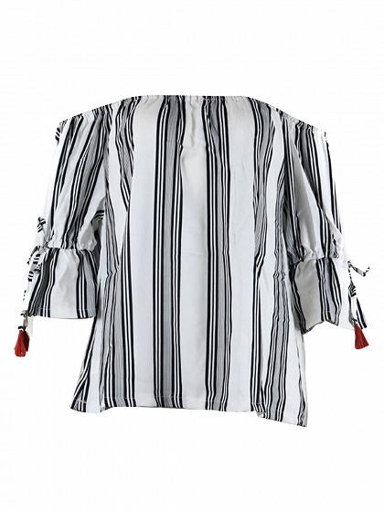 Black Stripe Off Shoulder Blouse
