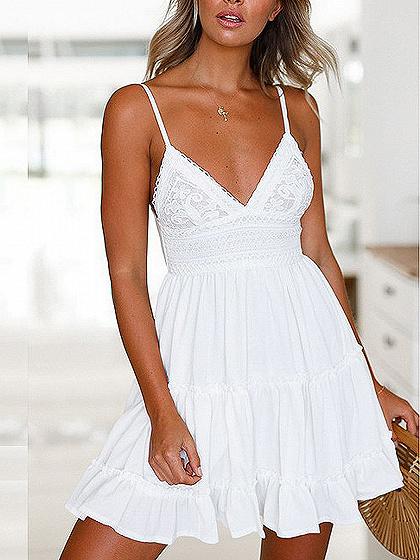 White Spaghetti Strap Plunge Lace Panel Bow Back Mini Dress
