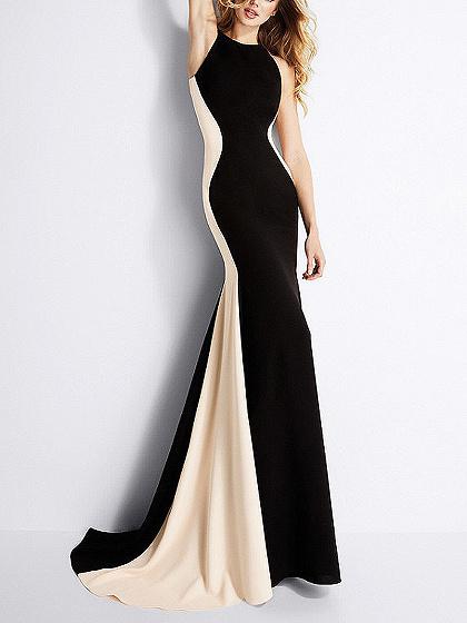 Black Contrast Bodycon Party Dress