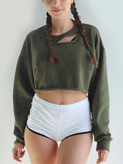 Militärgrün Ripped Tropfen Schulter geerntete Sweatshirt