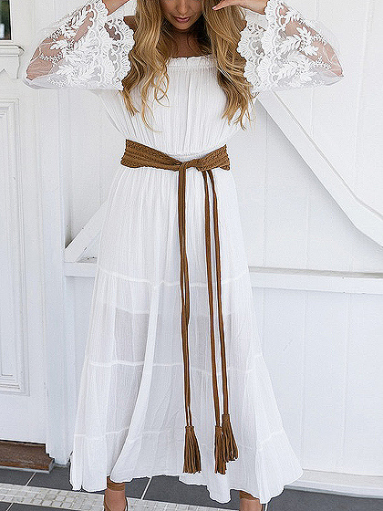 White Off Shoulder Lace Panel Flare Sleeve Maxi Dress