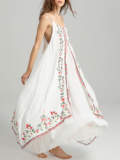 White Spaghetti Strap Embroidery Detail Maxi Dress