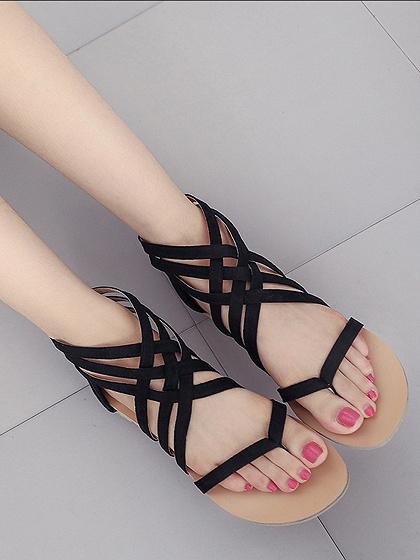 Sandales plates noires à brides croisées