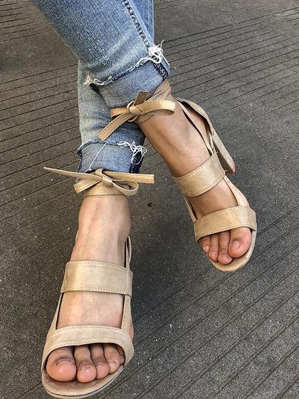 Beige Strap Detail Heeled Sandals
