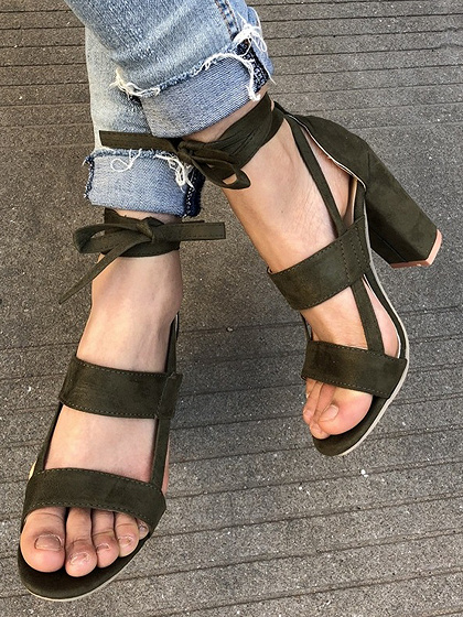 Army Green Strap Detail Heeled Sandals