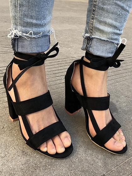Black Strap Detail Heeled Sandals