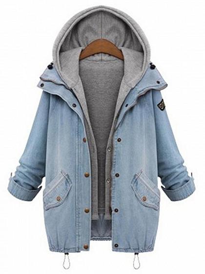 Light Blue Waistcoat And Long Sleeve Denim Coat