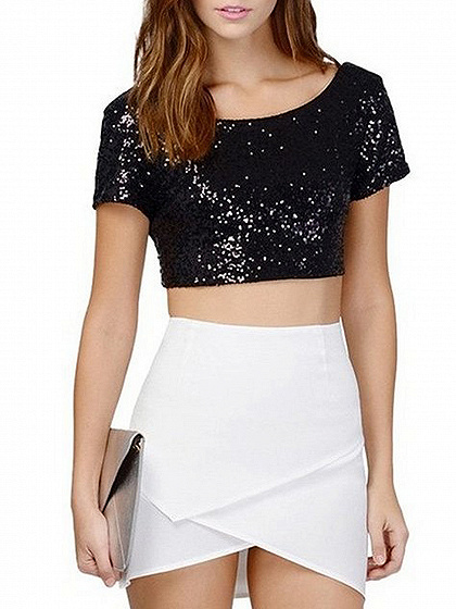 Schwarzes Pailletten-Detail-Crop-Top