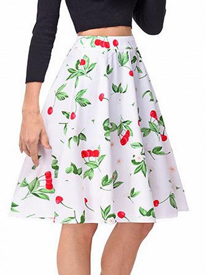 White High Waist Cherry Print Skirt