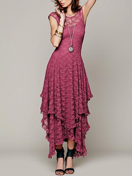 Hot Pink Asymmetric Hem Open Back Lace Dress