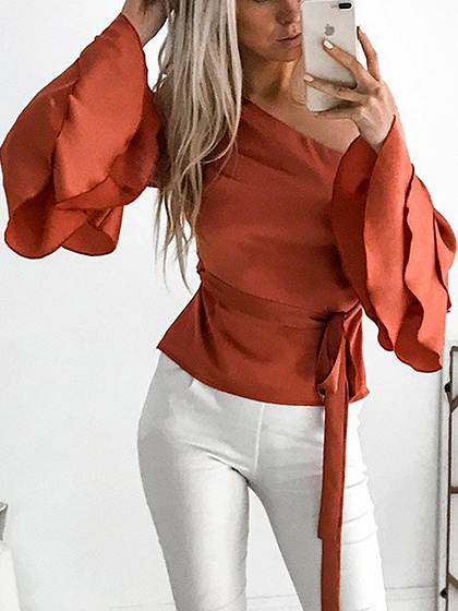 Orange One Shoulder Tie Waist Flare Sleeve Blouse