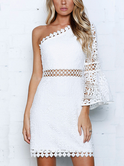 White One Shoulder Cut Out Detail Flare Sleeve Lace Mini Dress