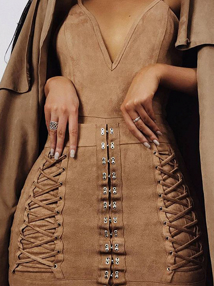 Khaki Faux Suede Spaghetti Strap Plunge Bodycon Mini Dress