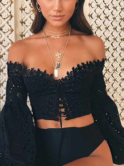 Black Off Shoulder Lace Panel Puff Sleeve Crop Blouse