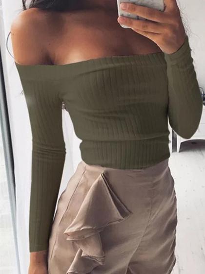 Army Green Off Shoulder Long Sleeve Ribbed Crop T-shirt