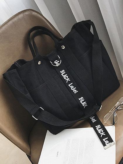 Black Button Detail Clutch Bag
