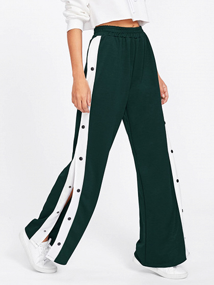 Pantalones anchos laterales de cintura alta color verde oscuro Pantalones anchos laterales de cintura alta