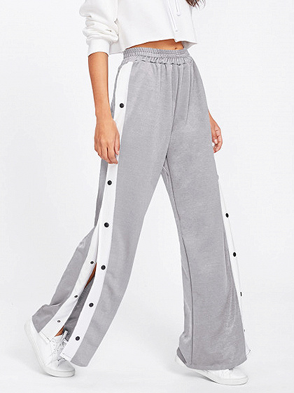 Gray High Waist Button Side Wide Leg Pant
