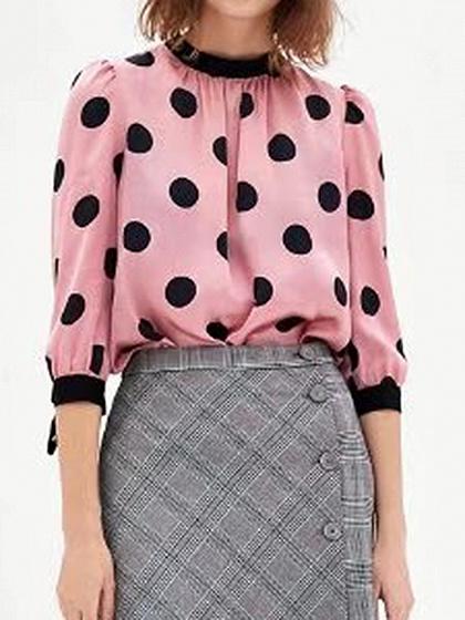 Pink Tie Cuff Polka Dot bouton patte de boutonnage Blouse à manches longues