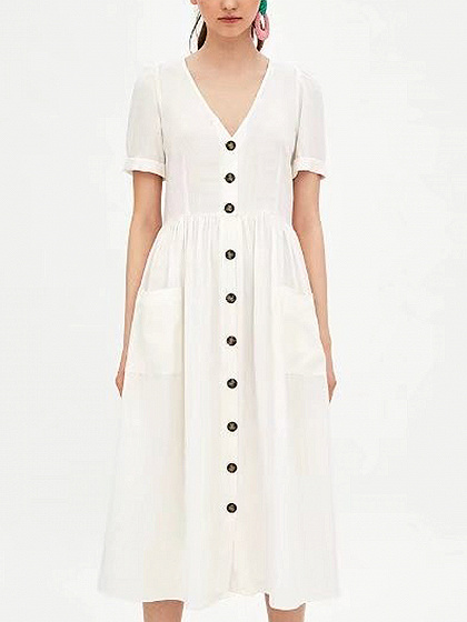White V-neck Button Placket Midi Dress