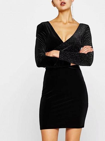 Black V-neck Velvet Panel Open Back Long Sleeve Bodycon Dress