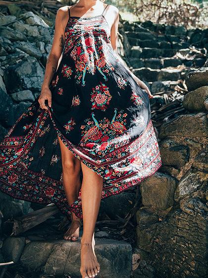 Black Floral Print Low Back Cami Maxi Dress