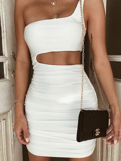 White One Shoulder Cut Out Waist Bodycon Mini Dress