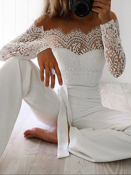 White Off Shoulder Tie Waist Long Sleeve Lace Jumpsuit