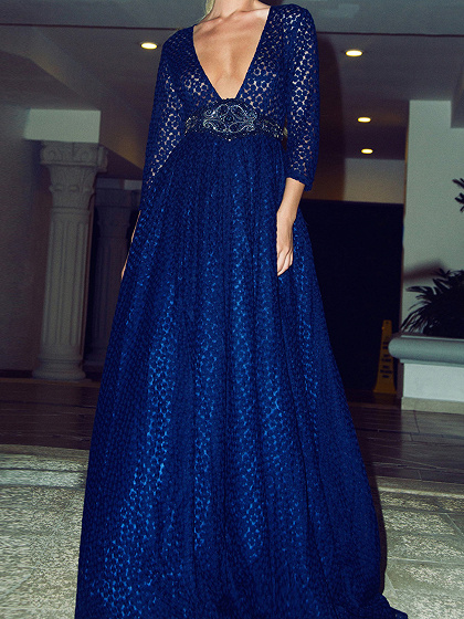 Blue Plunge Neck Sheer Embroidery 3/4 Sleeve Prom Dress