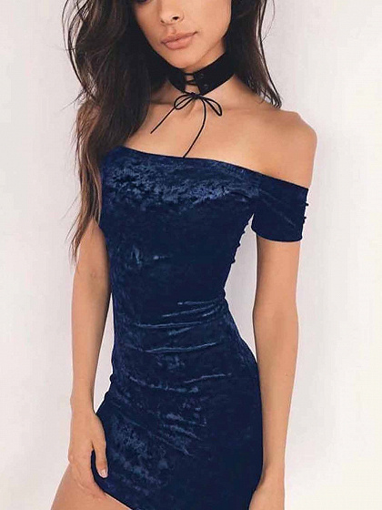 Navy Off Shoulder Velvet Bodycon Mini Dress
