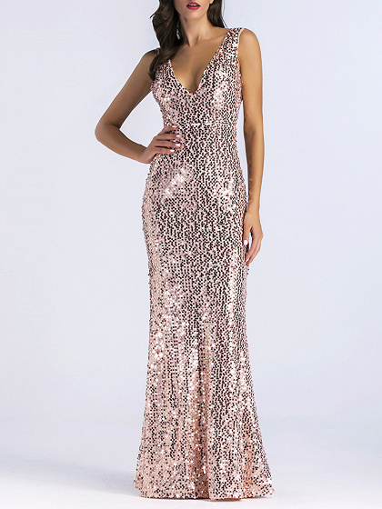 Gold Plunge Sequin Detail Open Back Maxi Dress