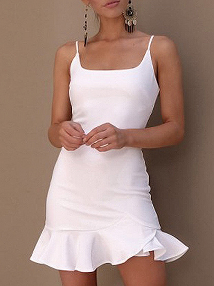 White Spaghetti Strap Ruffle Hem Bodycon Mini Dress