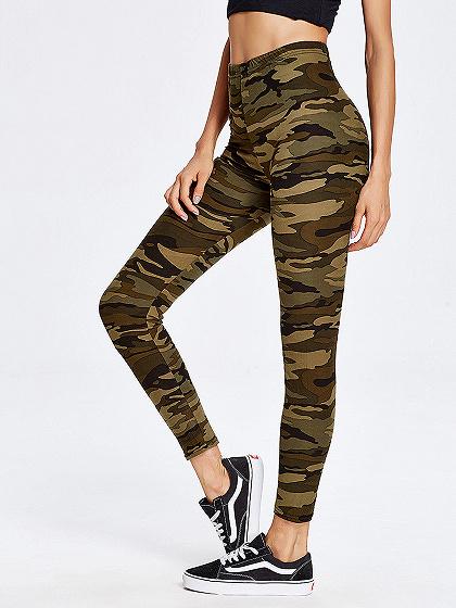 Green Camouflage High Waist Leggings