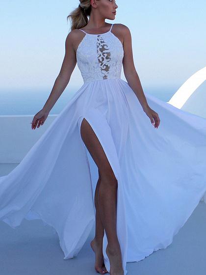 White Spaghetti Strap Lace Panel Thigh Split Side Maxi Dress
