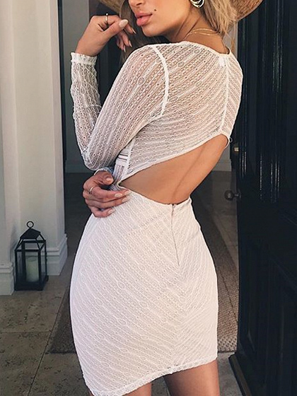 White Plunge Open Back Long Sleeve Lace Bodycon Mini Dress