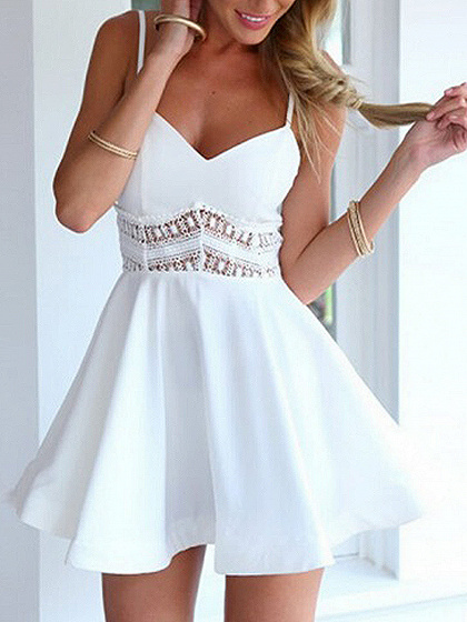 White V-neck Lace Panel Spaghetti Strap Mini  Dress