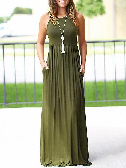 Army Green Pocket Detail Sleeveless Maxi Dress