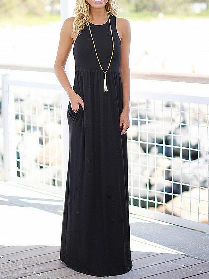 Black Pocket Detail Sleeveless Maxi Dress