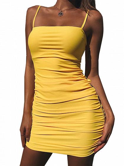 Yellow Spaghetti Strap Tie Back Bodycon Mini Dress