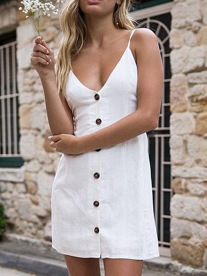 White V-neck Button Up Tie Back Spaghetti Strap Mini Dress