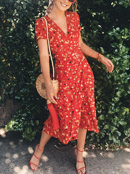 Red V-neck Floral Print Puff Sleeve Midi Dress