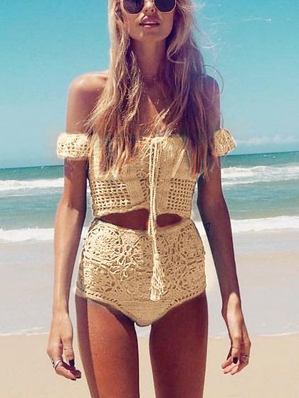 Yellow Off Shoulder Lace Up Crochet Bikini Top and Bottom