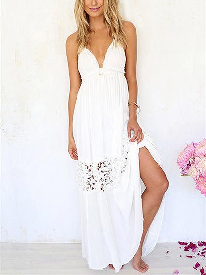 Vestido maxi de espalda descubierta blanca de encaje halter plunge