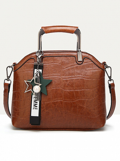 Brown Metal Handle Shoulder Bag