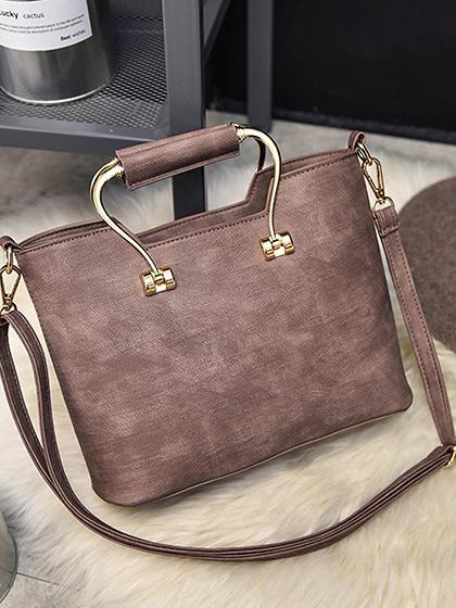 Pink Metal Handle Shoulder Bag