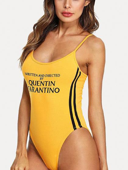 Yellow Contrast Stripe Spaghetti Strap Letter Print Bodysuit